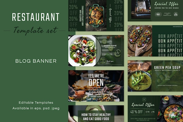Restauracja biznesowa edytowalny szablon wektor zestaw do banera na blogu