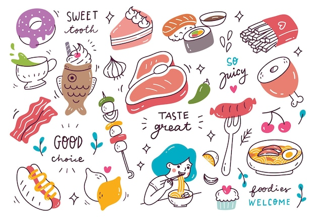 Restauracja doodle z różnymi potrawami i napojami