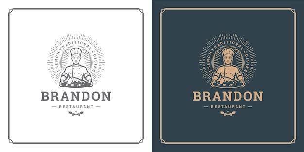 Restauracja etykieta ilustracja szef kuchni mężczyzna trzyma danie sylwetka, dobre dla menu restauracji i odznaka kawiarni.