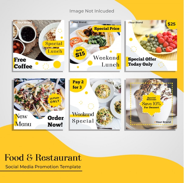 Restauracja gastronomiczna szablon promocji w mediach społecznościowych