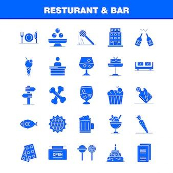 Restauracja i bar solidna ikona glifu