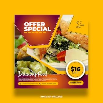 Restauracja jedzenie zdrowe menu społeczne media kolorowy streszczenie post