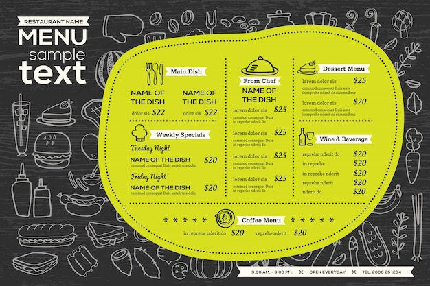 Restauracja kawiarnia menu szablon projekt ulotki żywności