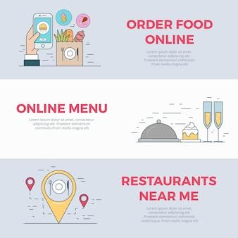Restauracja kawiarnia wyszukiwanie jedzenie online zamówienie usługa mobilna aplikacja aplikacja ikona liniowy płaski styl web