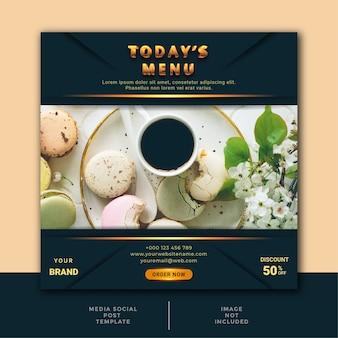 Restauracja kulinarny szablon postu w mediach społecznościowych