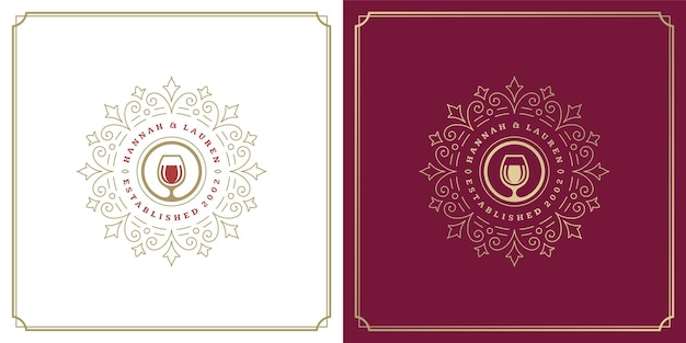 Restauracja logo projekt wektor ilustracja kieliszek do wina sylwetka