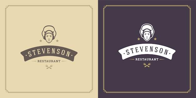 Restauracja logo szablon ilustracja twarz szefa kuchni w sylwetka kapelusza, dobra dla menu restauracji i odznaka kawiarni.