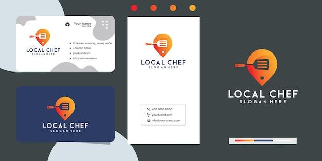 Restauracja lokalna żywność logo design i wizytówka