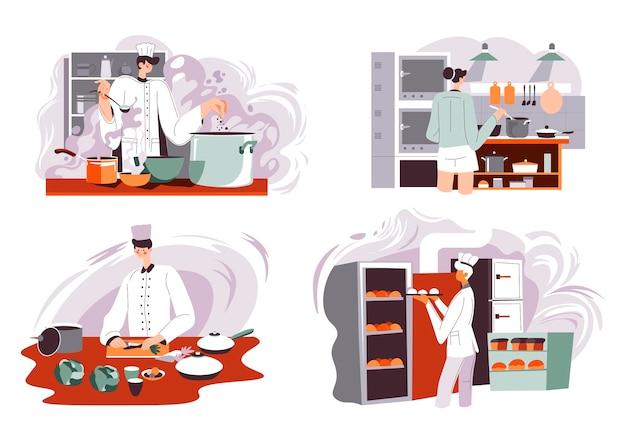 Restauracja lub kawiarnia gotowanie szefa kuchni w kuchni wektor
