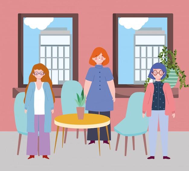 Restauracja lub kawiarnia zapewniająca dystans społeczny, kobieta stojąca, utrzymująca dystans