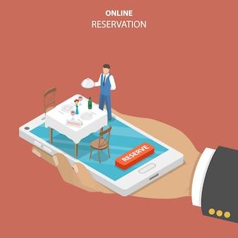 Restauracja rezerwacja online w płaskiej izometrycznej koncepcji