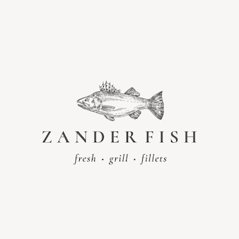 Restauracja rybna lub grill streszczenie wektor znak