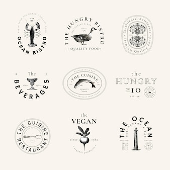 Restauracja vintage logo szablon wektor zestaw, zremiksowany z dzieł z domeny publicznej