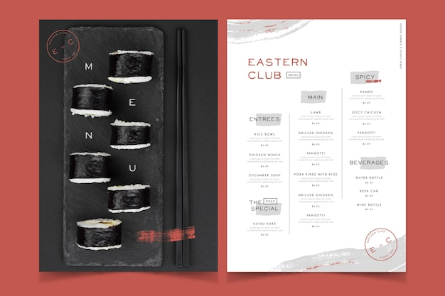 Restauracja wschodniego klubu jedzenie menu styl vintage