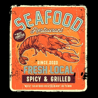 Restauracja z owocami morza w stylu retro z ilustracji homara