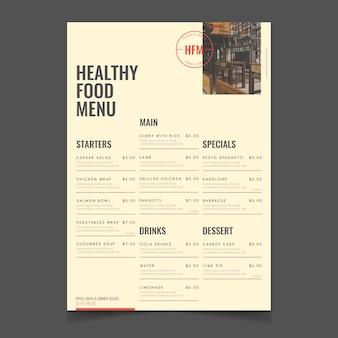 Restauracja zdrowe jedzenie menu styl vintage