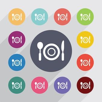 Restauracja, zestaw ikon płaski. okrągłe kolorowe guziki. wektor