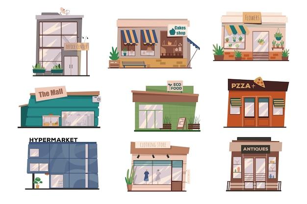 Restauracji lub sklepów na fasadach na białym tle zestaw scen