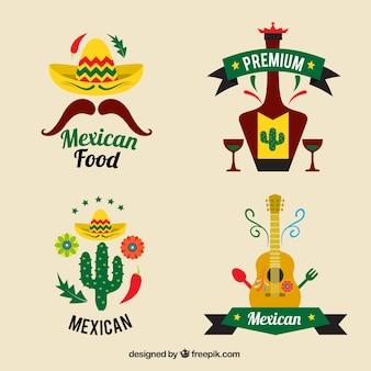 Restauracji meksykańskich logo zestaw