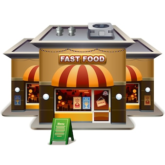 Restauracji typu fast food z dodatkowymi informacjami. wszystko do edycji.