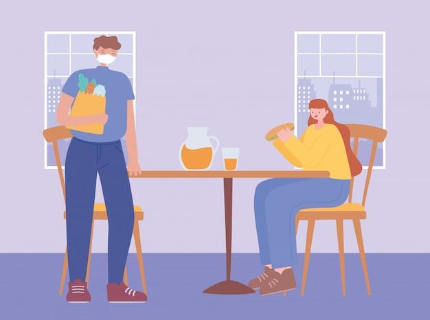 Restauracyjne dystansowanie społeczne, środki zapobiegawcze mężczyzny i kobiety w celu ochrony siebie, osoby z medyczną maską twarzową, koronawirus
