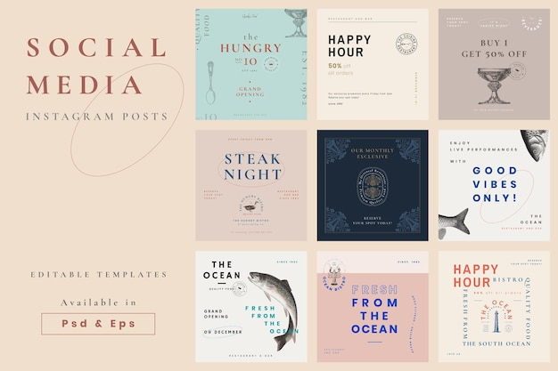 Restauracyjne posty w mediach społecznościowych mają estetyczny projekt wektorowy, zremiksowany z dzieł z domeny publicznej
