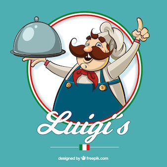 Restauracyjny tło z ręka rysującym włoskim szefem kuchni