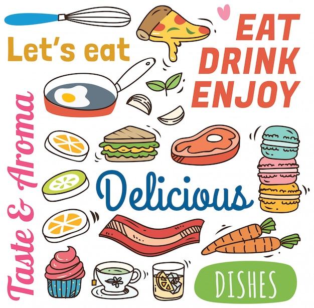 Restauracyjny tło z różnorodnym jedzeniem w doodle stylu.