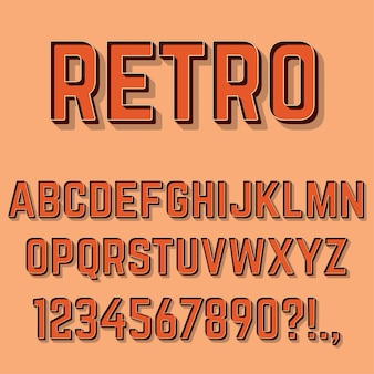 Retro 3d litery, cyfry i symbole.