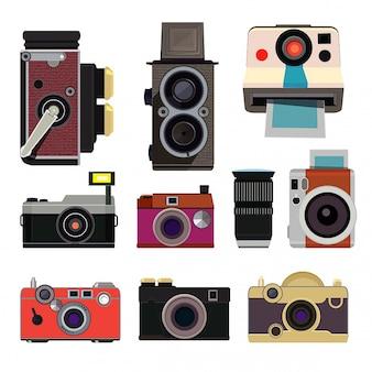 Retro aparaty fotograficzne w stylu cartoon izolować