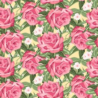 Retro bezszwowe ręcznie rysowane wzór róży