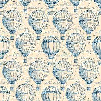 Retro bezszwowe tło z balonów pochmurne niebo