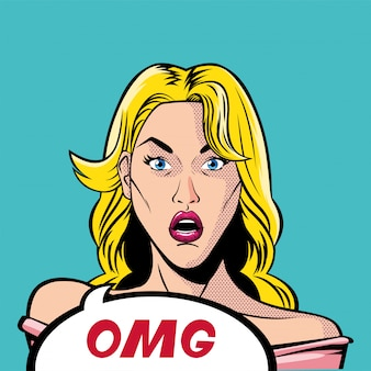 Retro blond kobieta kreskówka z wektorem bańki omg