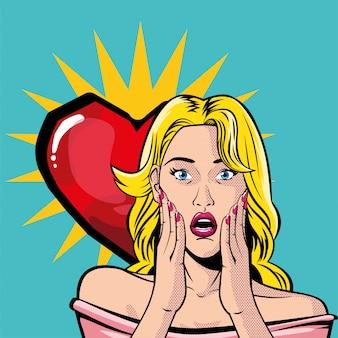 Retro blond kobieta kreskówka z wektorem serca