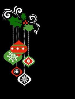 Retro boże narodzenie tło z jemioły i ozdoby choinkowe - szablon na baner, plakat lub kartkę z życzeniami