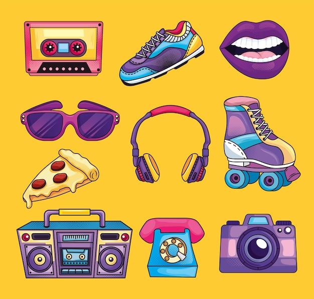 Retro clipartów zestaw w stylu lat 80-tych.