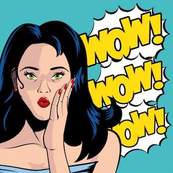 Retro czarne włosy kreskówka kobieta w okularach i wow wektor wybuchu