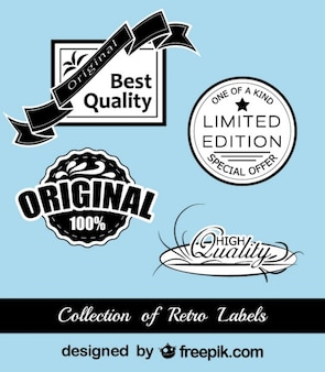 Retro czarno-niebieskie naklejki kolekcja