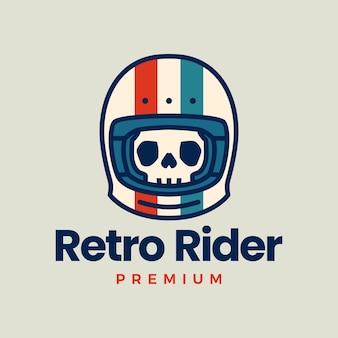 Retro czaszka kask motocyklista ikona ilustracja logo klubu motocyklowego