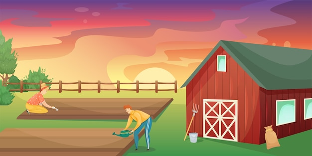 Retro czerwona amerykańska stodoła w dziedzinie rolnictwa. rolnictwo, zbiory. rolnictwo na własne potrzeby.
