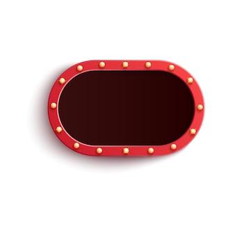 Retro czerwona owalna pusta rama z błyszczącymi żarówkami w realistycznym stylu.
