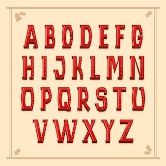 Retro czerwone litery alfabetu boże narodzenie