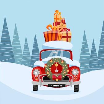 Retro czerwony samochód z prezentem na dachu, niosący pudełka na prezenty