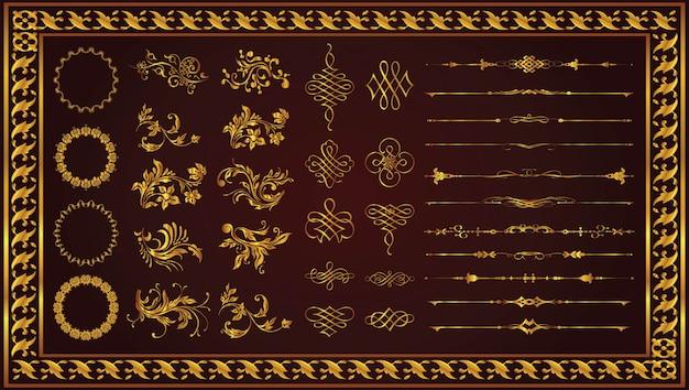 Retro dekoracyjne ramki obramowania sztuka złoty kolor