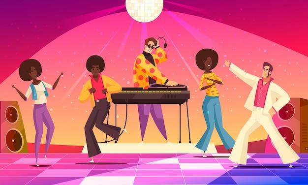 Retro disco party zabawa z ludźmi tańczącymi płaską ilustracją,