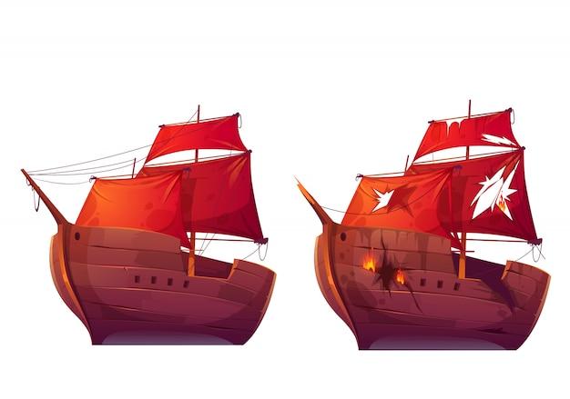 Retro drewniane statki z czerwoną szkarłatną żaglem kreskówką