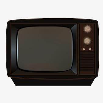 Retro drewniany telewizor z małą przejrzystą szklaną parawanową ilustracją