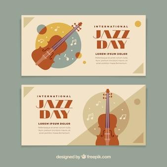 Retro dzień jazzu transparenty z skrzypce