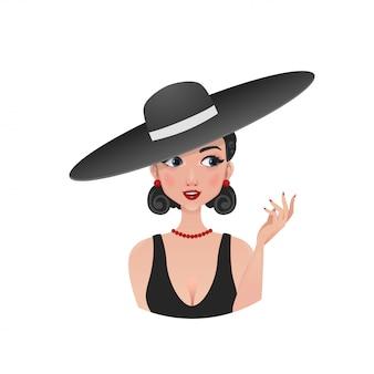 Retro dziewczyna w słomkowym kapeluszu