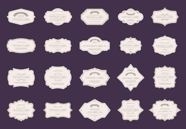 Retro eleganckie etykiety. vintage ozdobne kształty, królewskie ozdobne ramki i zestaw ikon premium etykiet ślubnych. wiktoriańskie papierowe plakietki z klasycznymi eleganckimi ramkami